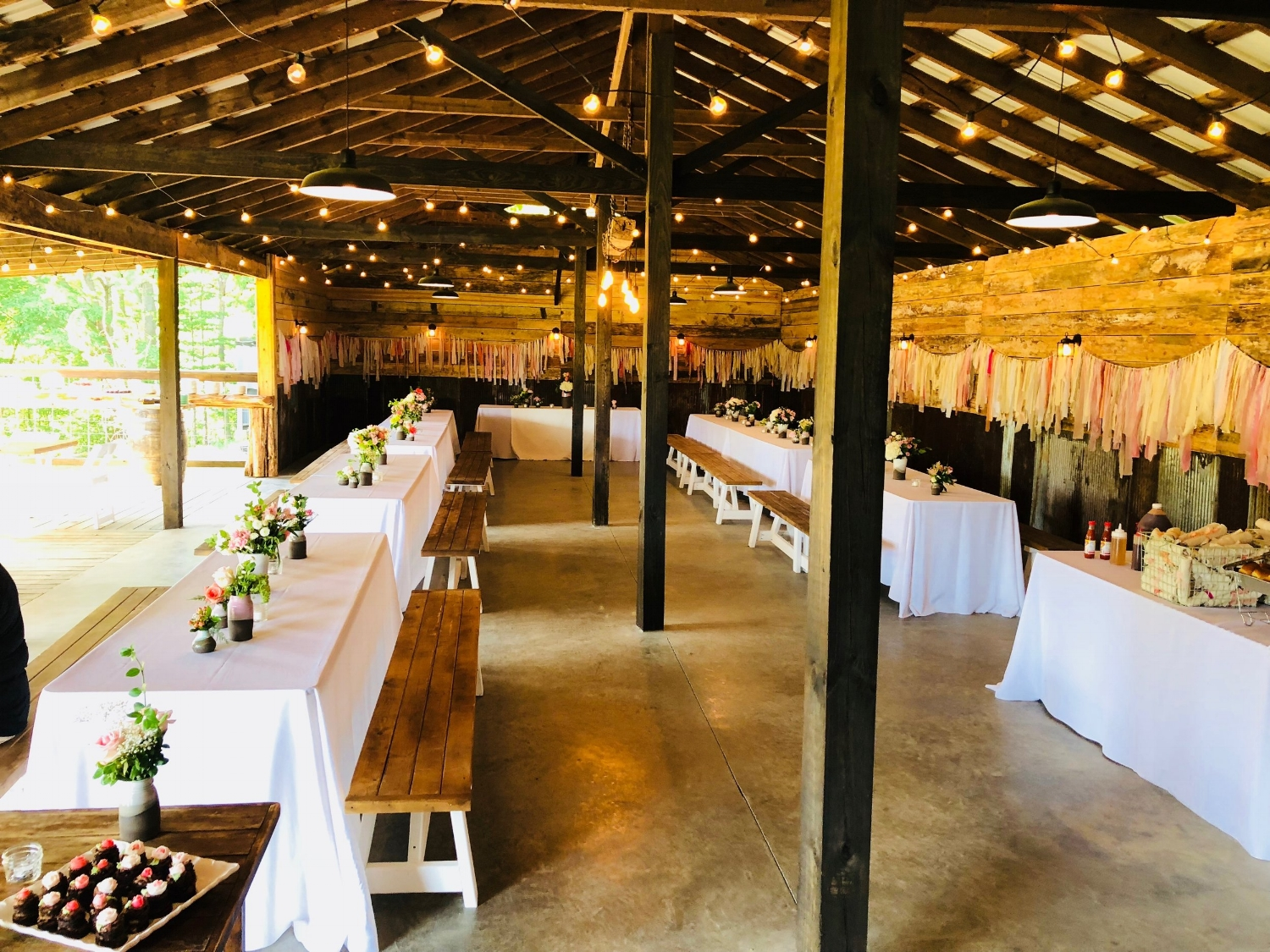buffet wedding reception at the historic venue at old holler farm in rural hall, nc