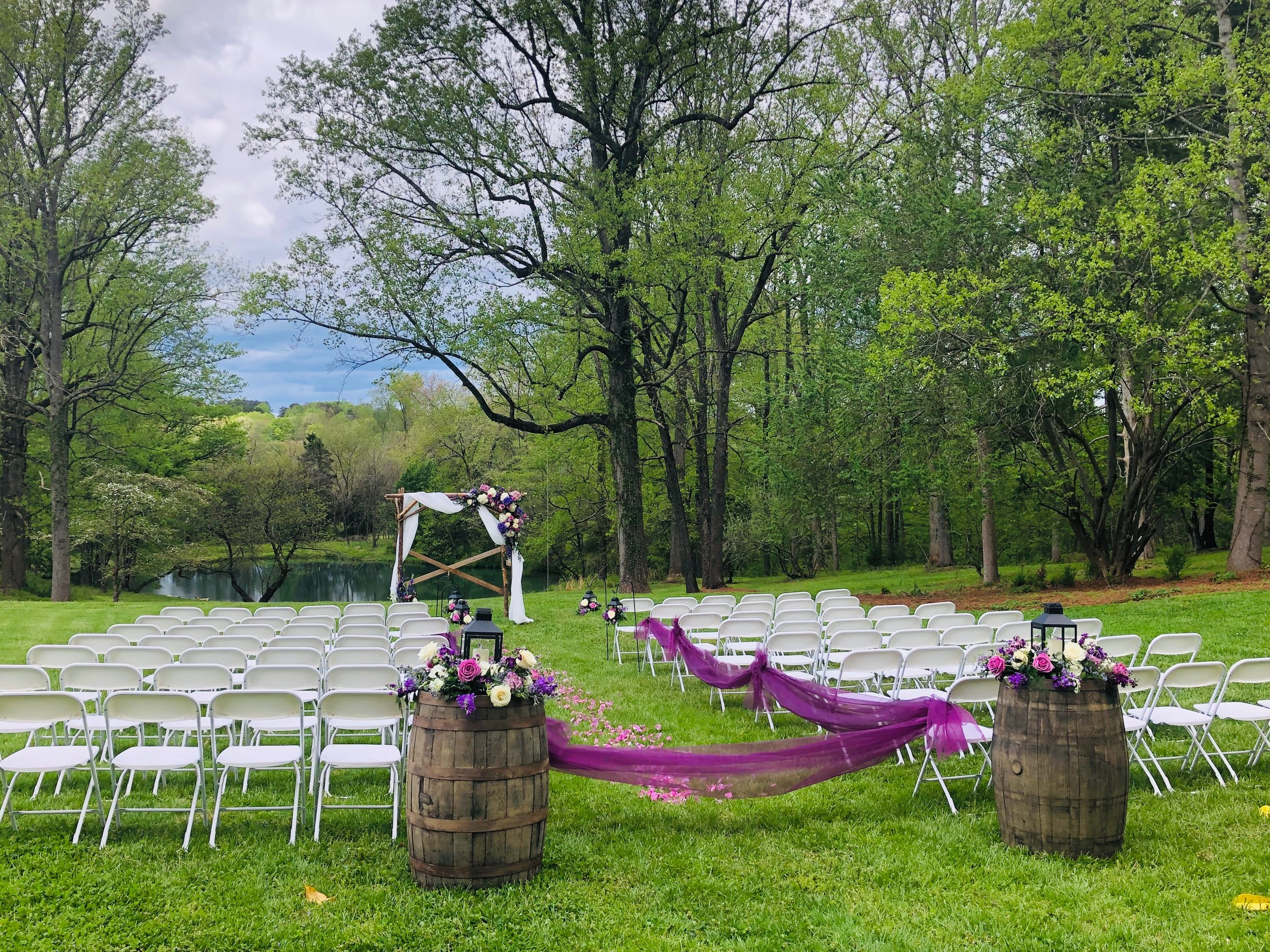 outdoor wedding venue at old holler farm in rural hall nc