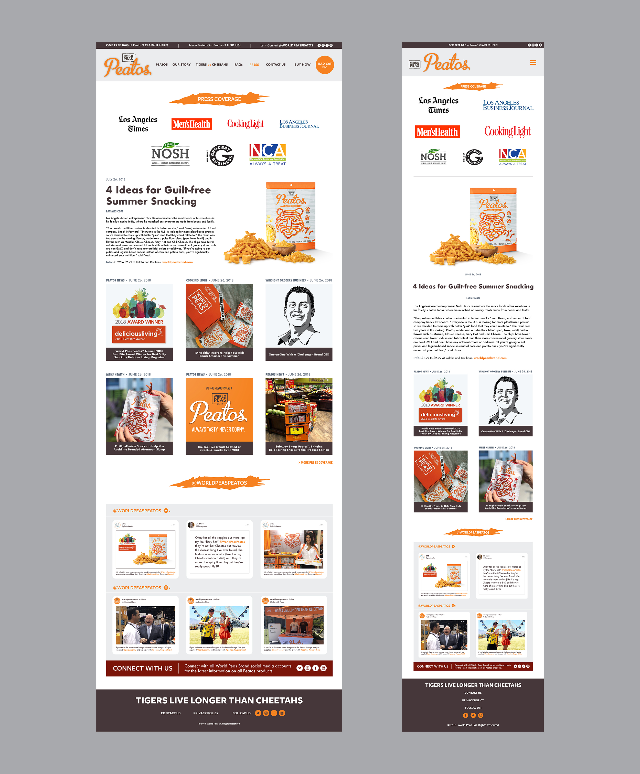 Front-end design for website media page and mobile UI. Photoshop CC.