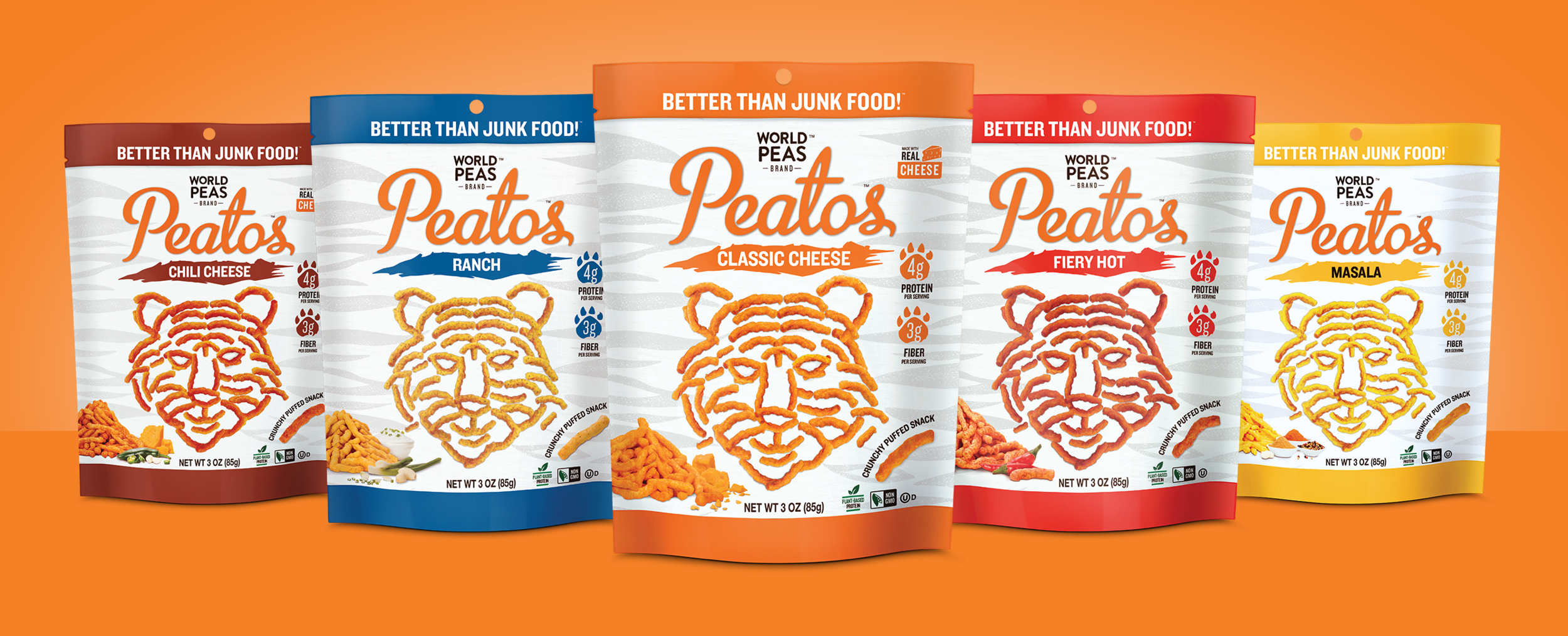 Refreshed CPG packaging design and print production for PEATOS 3oz Bag. Designed packaging mock ups for print and digital display. Illustrator & Photoshop CC.