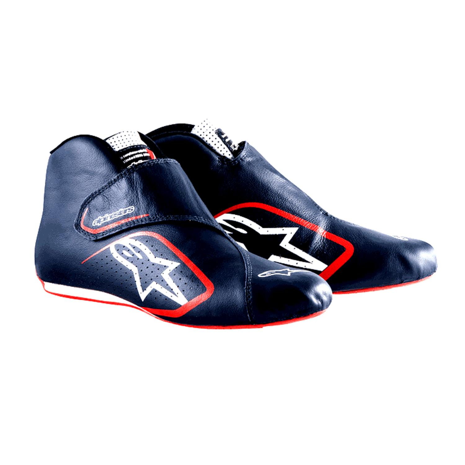 Alpinestars' most minimalist and most expensive shoe..$429 - Why - Kangaroo leather - supportive, light, wear resistant, holds shape and breathable. A one piece design - one seam.Minimalist design - for weight reduction, ease of use and note the logo screen printed - saves a half ounce!