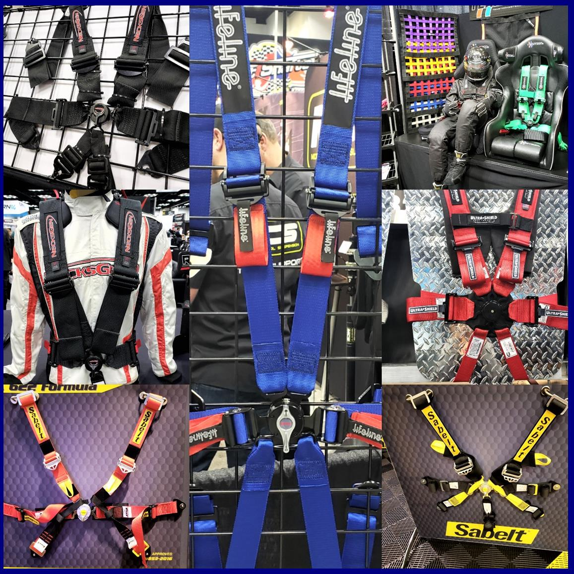 choices… - A myriad of choices from multiple manufacturers, but each manufacturer has to pass identical safety tests quantified from only two sanctioning bodies - the FIA or SFI. The tests are performed at appropriate, licensed facilities. FIA 8853-2016  Recently introduced and after 2023 all FIA belts will have been manufactured to this standard. The harness has to withstand forces of up to 70Gs, from multiple angles and more.SFI 16.1 The harness must not break under 6,300lbs SF2 16.2 A youth harness (lower) ratingSFI 16.5 The harness must not break under 7,000lbs. Designed for the rigors of off-roading