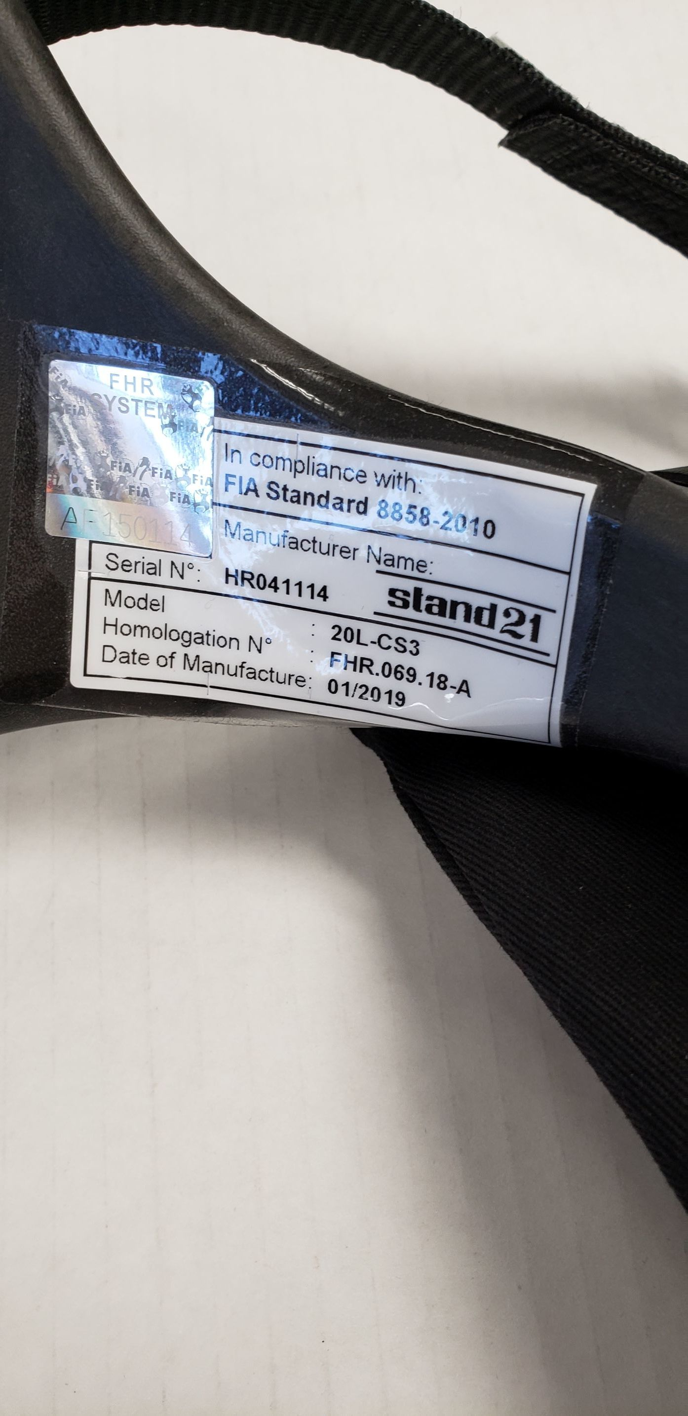 Again the FIA HANS must be presented with hologram. FIA tagged FHR have no expiration date. However, we recommend you re-certify them every 5 years for damage. wear and tear and especially after an accident.