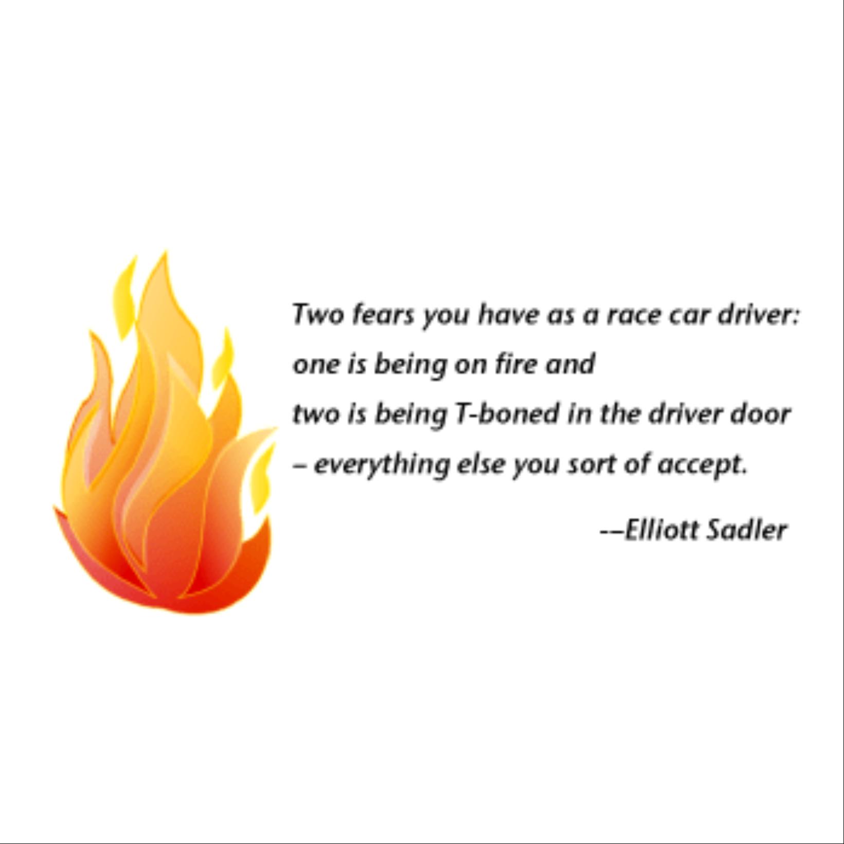 Race driver Ellliott Sandler fire quite 1
