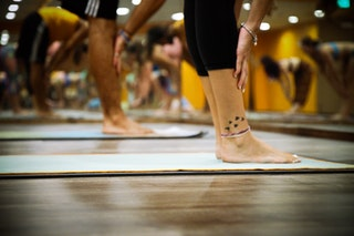 Gruppträningspass kan vara ett sätt för en PT att fylla upp schemat.   Men inte för mig.   Och speciellt inte yoga.