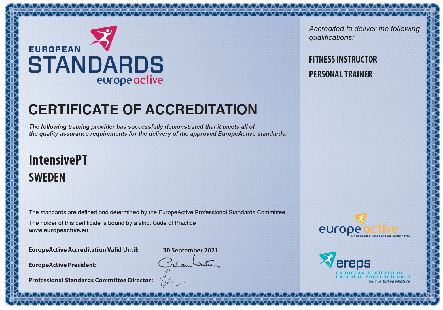 accreditation europeactive eqf level 4