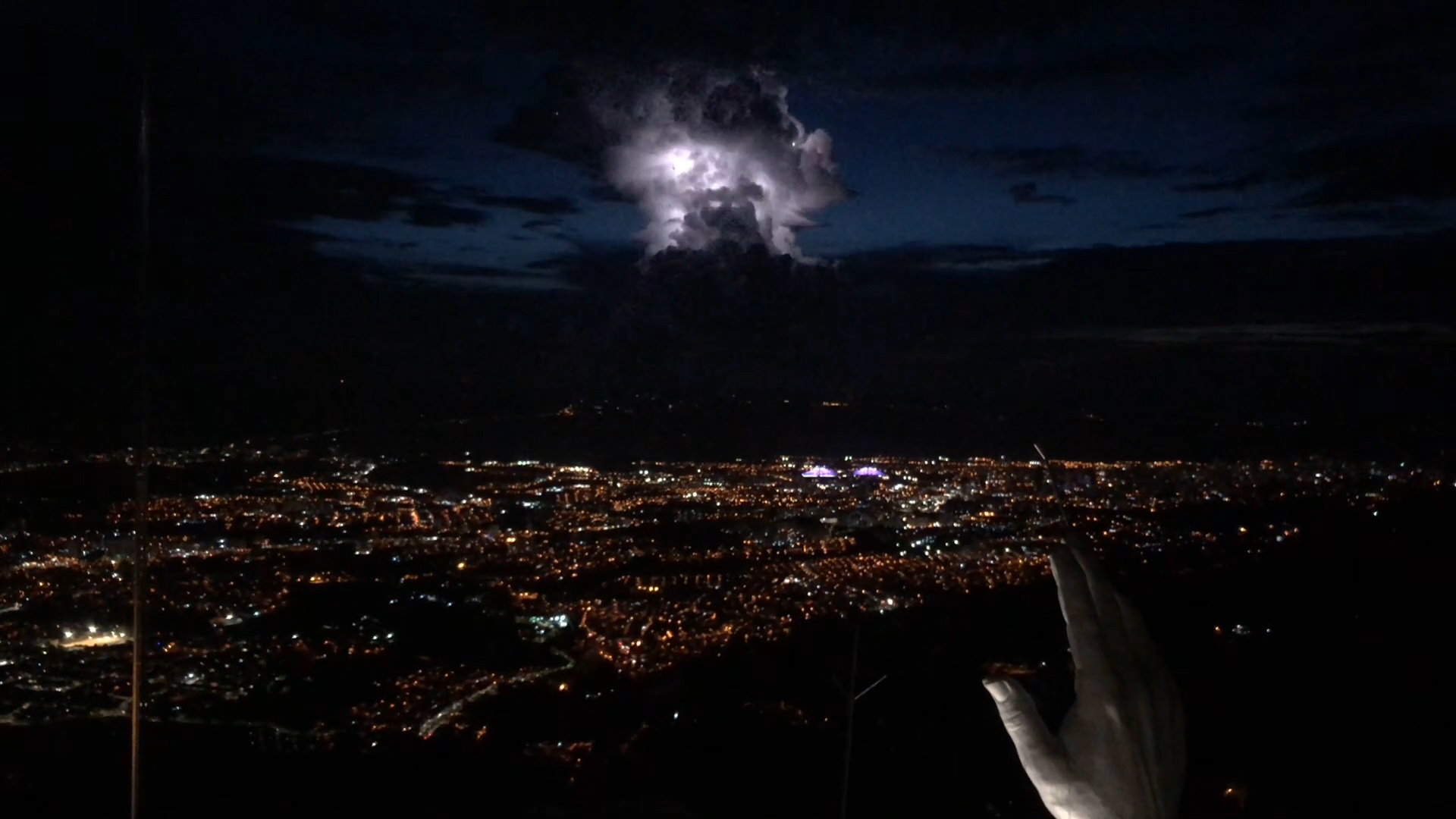View of a lightning storm from the top of the Christ statue.