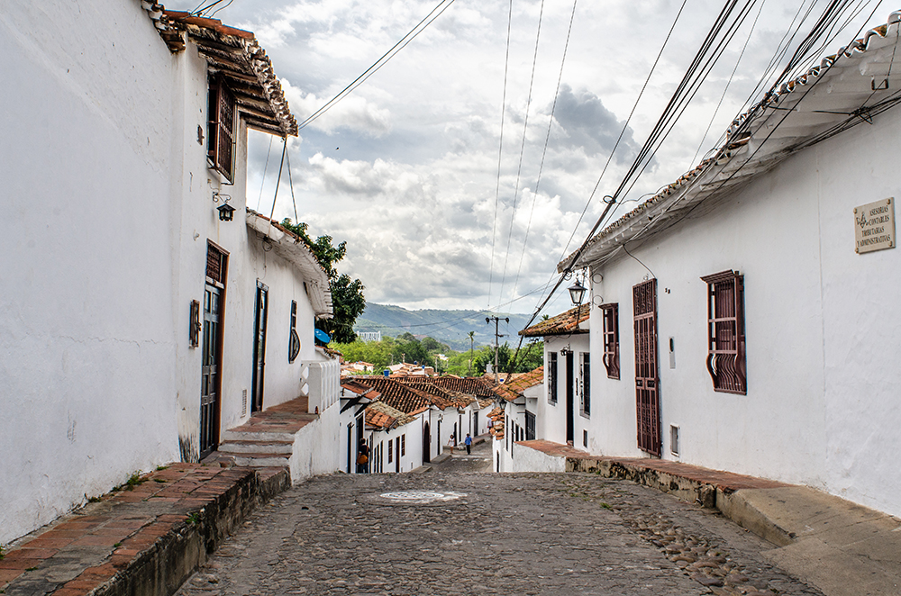 View down a typical street in Girón.