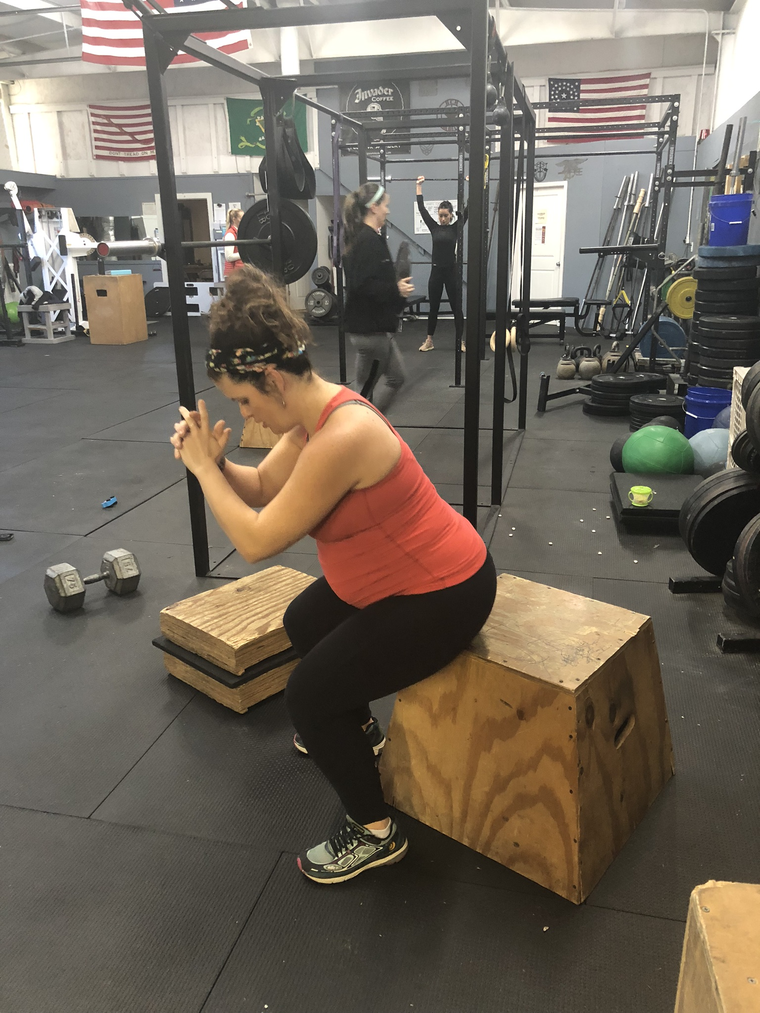 Prenatal: Unweighted Box Squat for additional support during strength training