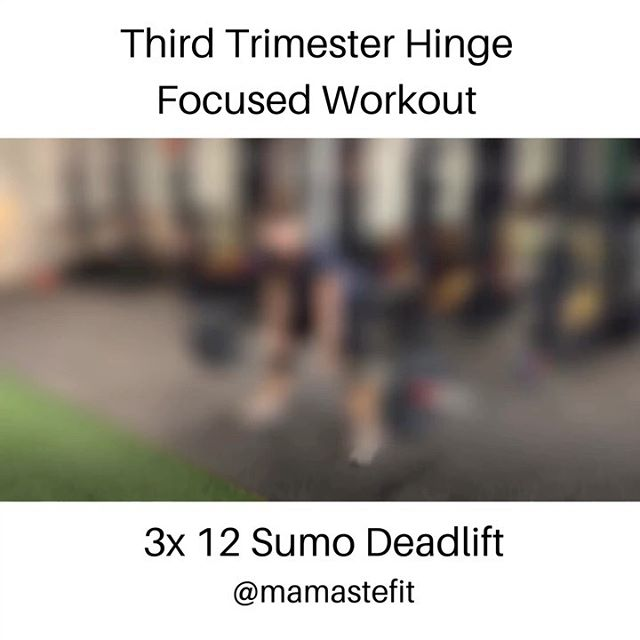 Here's a third trimester hinge focused workout to try.  3 rounds rotating between a sumo deadlift (option to use a kettlebell instead of a bar) and a supported single leg deadlift.  We focus our programming in the muscular endurance rep range and superset strength movements with a stabilization exercise.  This is a small portion of our prenatal leg focused workout!  We offer these types of workouts in our more detailed programs.  Check them out on our website.  #pregnancy #prenatal #pregnancyworkout #prenatalfitness #prenatalworkout #fitmomstrongmom #fitpregnancy #strongpregnancy  #thirdtrimesterworkout #thirdtrimester #fitmomstrongmom #mamastefitpregnancy