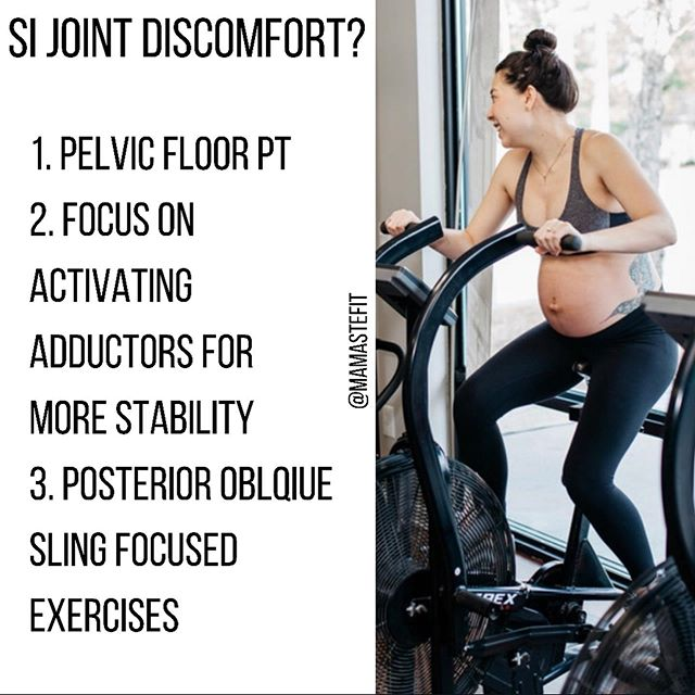 SI Joint instability issues causing discomfort or pain?? Here are our tips to help alleviate some of that discomfort + exercises we find helpful!  Our online and in person prenatal fitness program incorporates more exercises daily to help alleviate prenatal discomfort!  Join us today!  #pregnancy #prenatal #pregnancyworkout #prenatalfitness #prenatalworkout #fitmomstrongmom #fitpregnancy #strongpregnancy  #thirdtrimesterworkout #thirdtrimester #fitmomstrongmom #mamastefitpregnancy #firsttrimester #secondtrimester