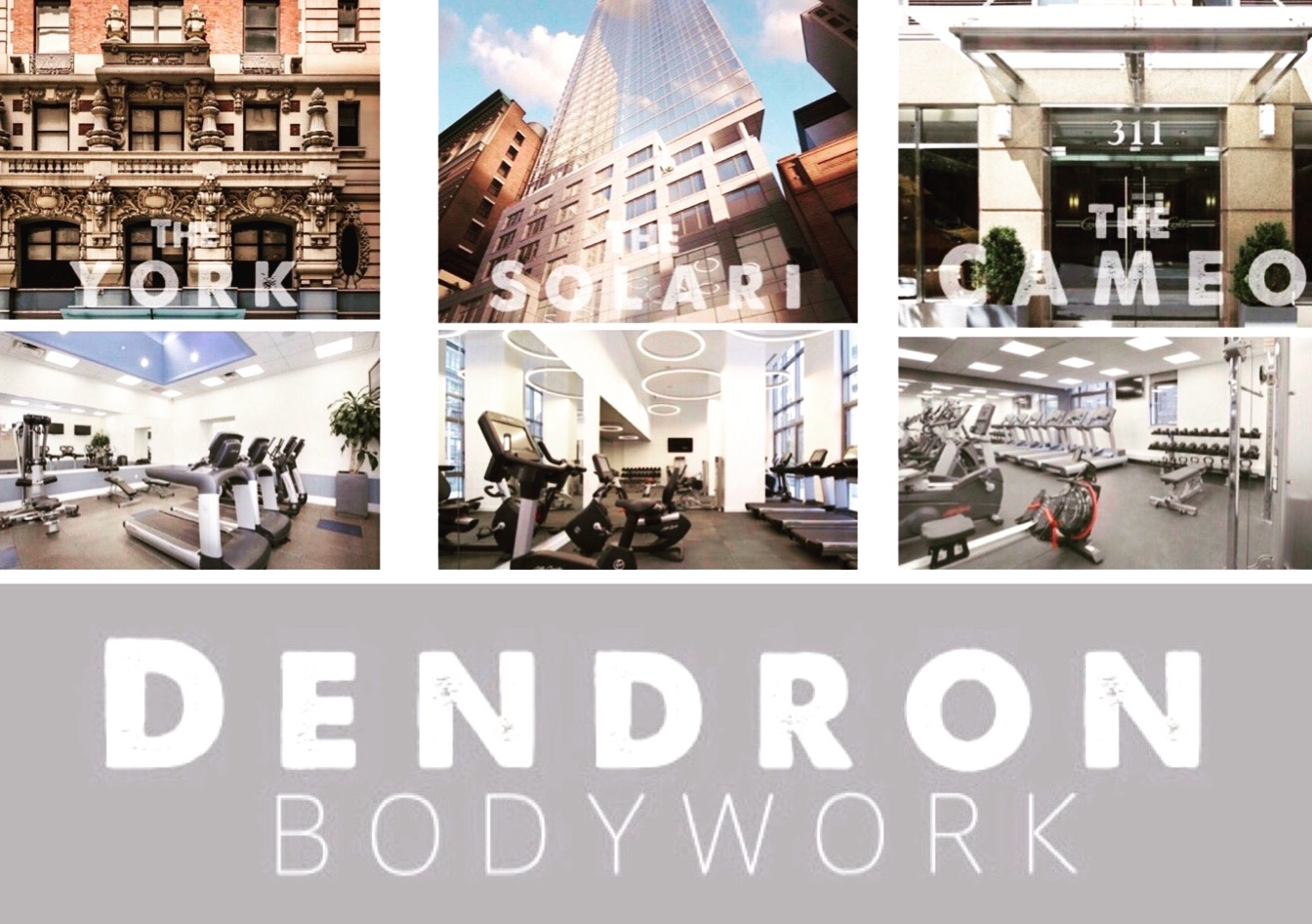 DENDRON IS PROUD TO ANNOUNCE THAT WE ARE NOW THE EXCLUSIVE ON SITE FITNESS AND AMENITIES SERVICE COMPANY TO THESE 3 AMAZING MANHATTAN LOCATIONS. OUR TEAM WILL PROVIDE THE HIGHEST LEVEL OF PERSONAL TRAINING, SMALL GROUP CLASSES AND MASSAGE THERAPY.
