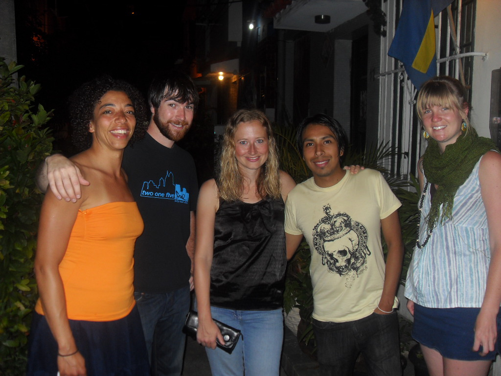 New friends:Alex (Baltimore), Georgiana (England) , Luigi (Peru) & Margot (Baltimore)....hangin out in Lapa (Rio De janeiro), I met them at a Hostel in Ipanema