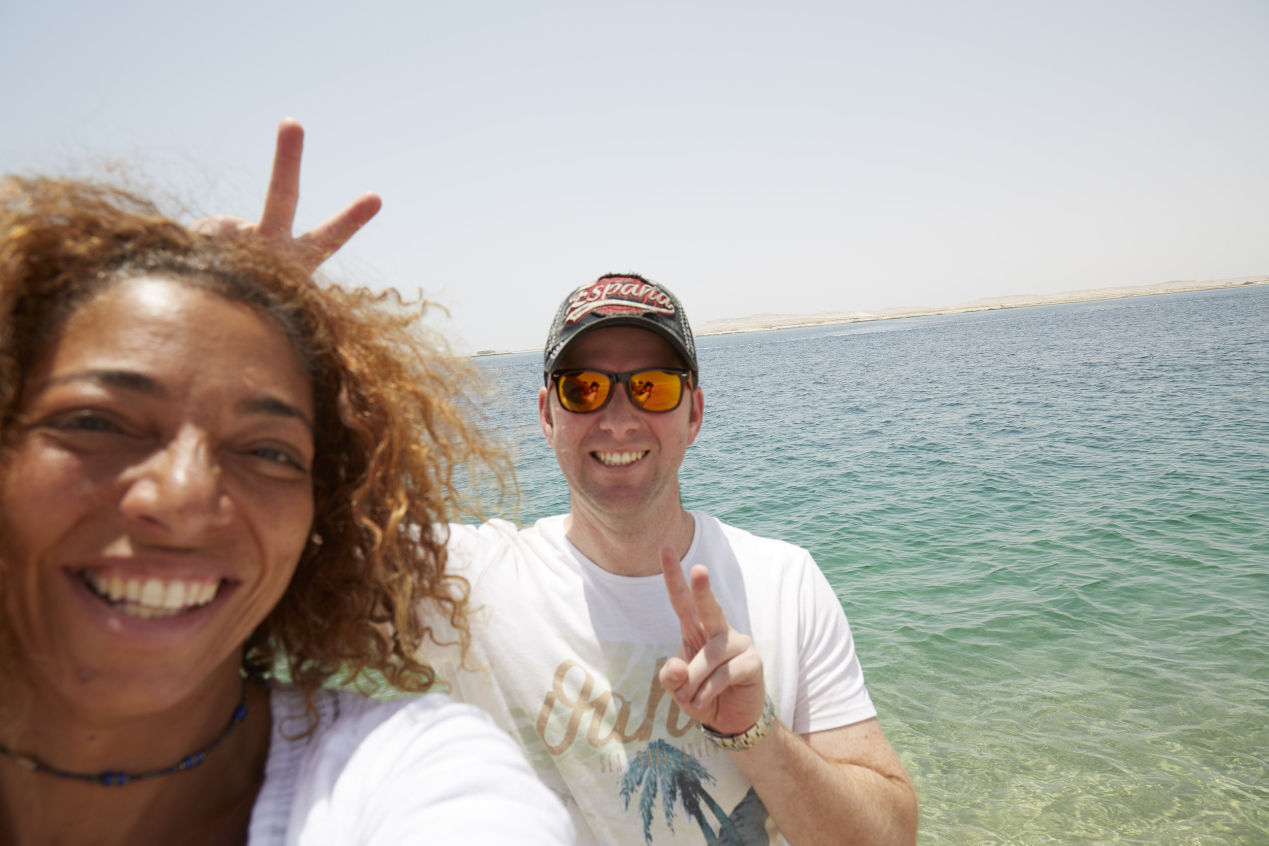 Gary& I on the Saudi Arabia border at the Inland Sea (Saudi Arabia in the distant background). Just moments after we received the news of 4+ countries in the Middle East politically exiling the State of Qatar.