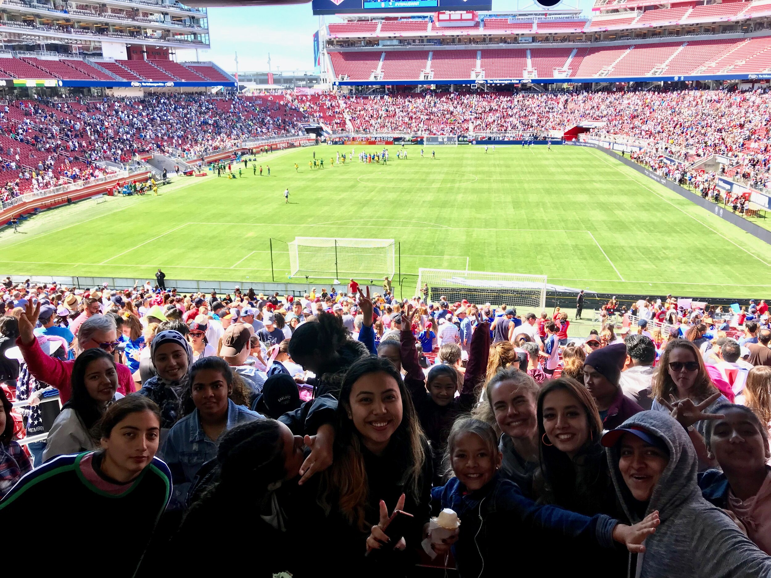 A mix of U14 and U19 girls, watching the U.S. Women's National Team play South Africa at Levi's Stadium