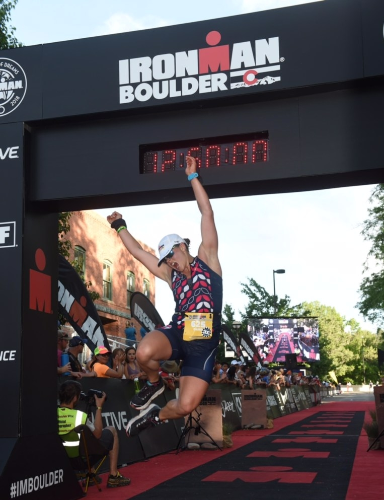 Dana, one of our athletes, finishing her FIRST Ironman!