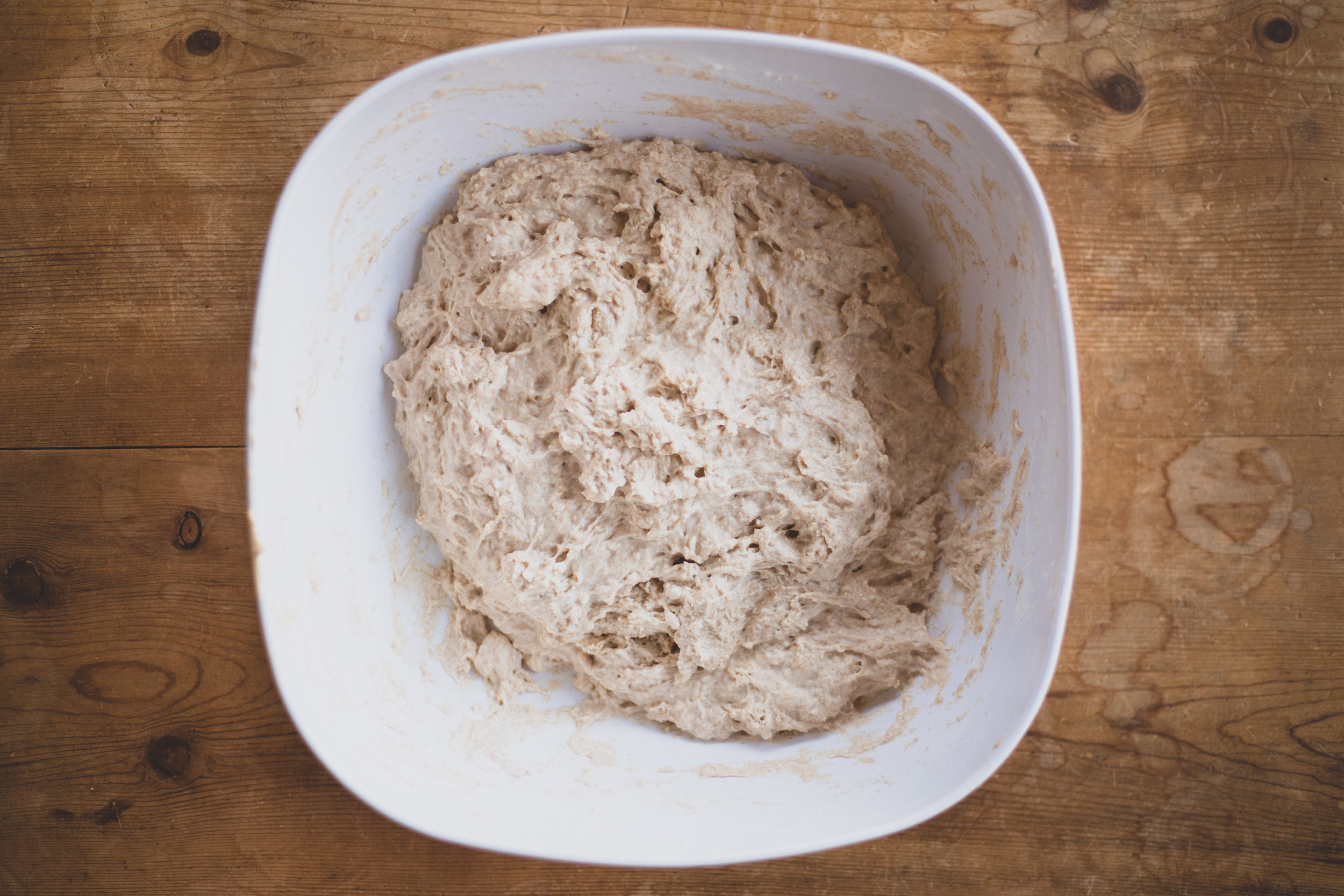 After initially mixing the dough together.