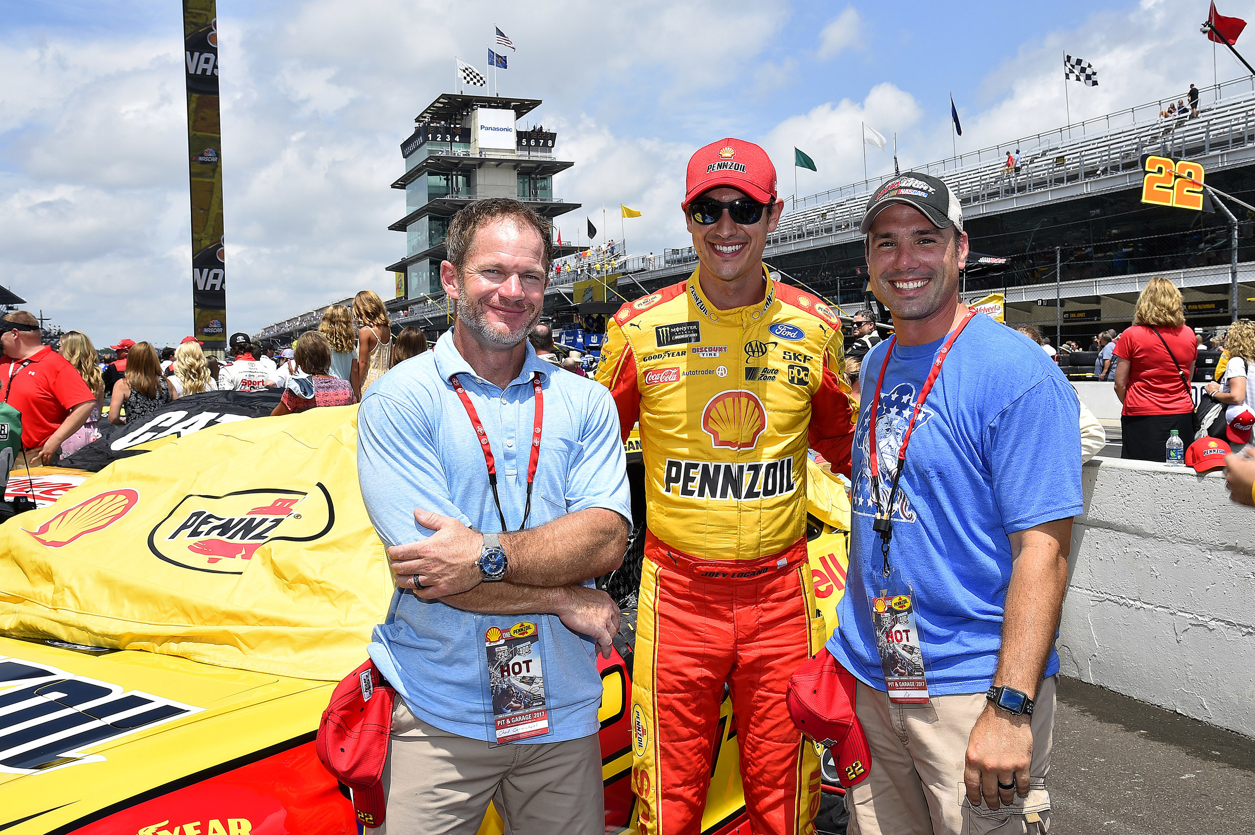 NASCAR driver Joey Logano with guests of The Best Seat in the House experience at Indianapolis Motor Speedway.