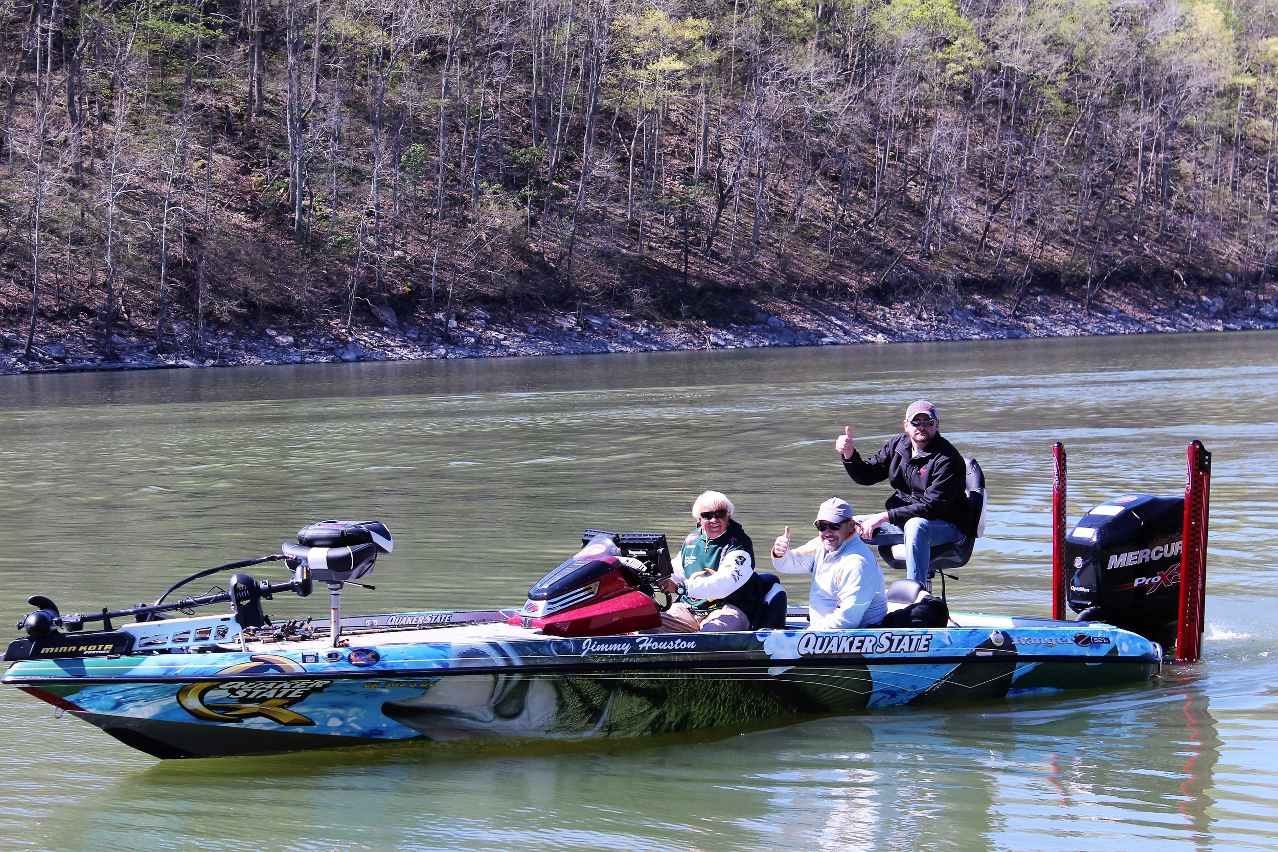 Guests of Quaker State go fishing with FLW professional angler Jimmy Houston.