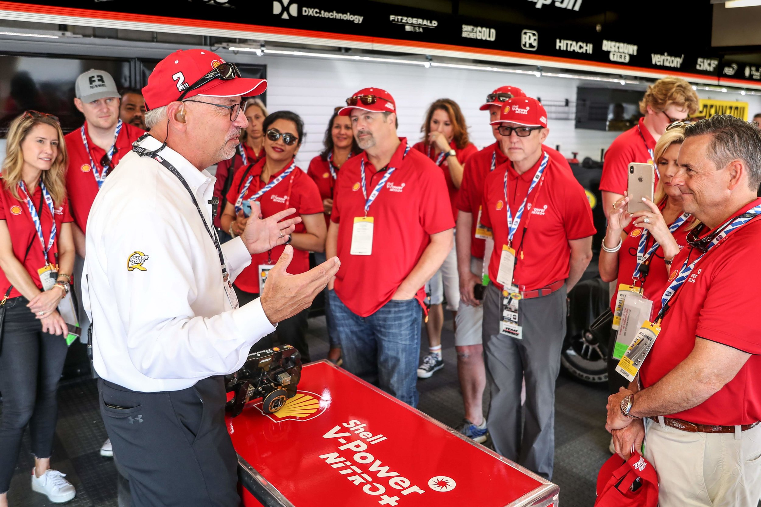 Guests go behind the scenes in the Team Penske garage ahead of the Indy 500.