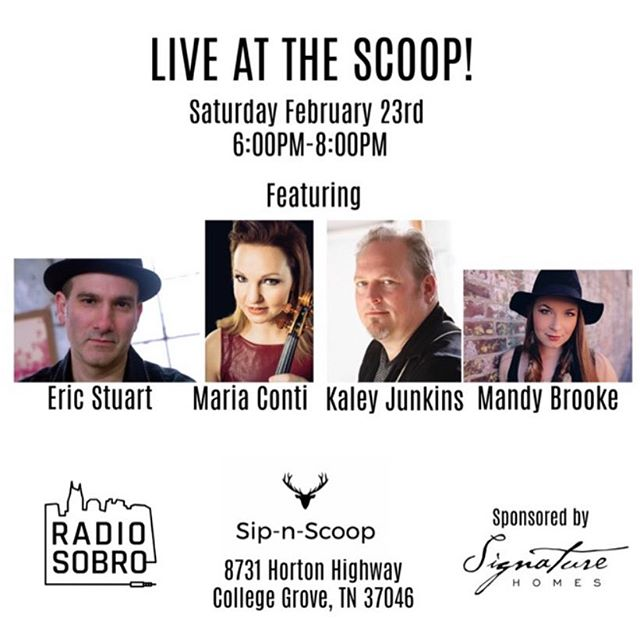 BIG NEWS! LIVE AT THE SCOOP - Announcement: February 23rd 6-8pm! Please mark your calendars 📆 for a night you won't want to miss. We are excited to have Eric Stuart, Maria Conti, Kaley Junkins and Mandy Brooke. Many thanks to our friends at Signature Homes (@mcdanielfarms_signaturehomes) for sponsoring this round and of course @radiosobro for all their help in putting this night together! 🎶