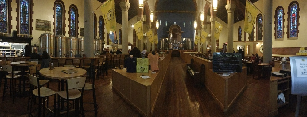 This is The Church Brew Works. It's a brewery/pizzeria built into a repurposed Roman Catholic Church. It's one of the most unique restaurants we've ever been to!