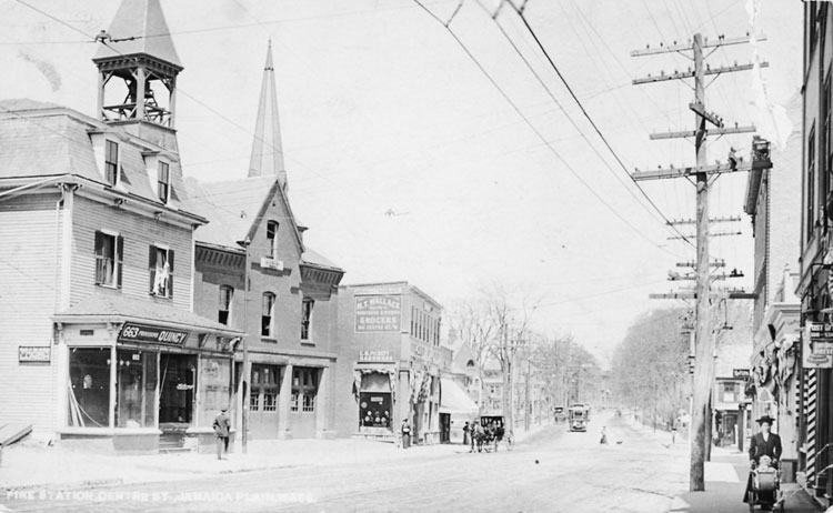 This 1885 photograph shows Centre Street between Thomas and Green Streets. Photograph courtesy of the Boston Public Library.