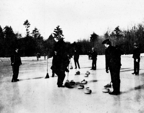 A group of men enjoy a game of curling on Jamaica Pond circa 1900. Photograph furnished courtesy of the Boston Public Library.