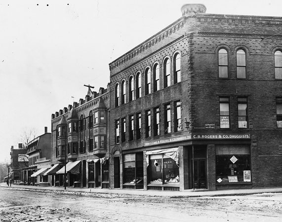 701 and 703 Centre St. at the corner with Burroughs St. At the turn of the century this building housed C.B. Rogers & Company pharmacy and it remained in that use through the mid-1970s.