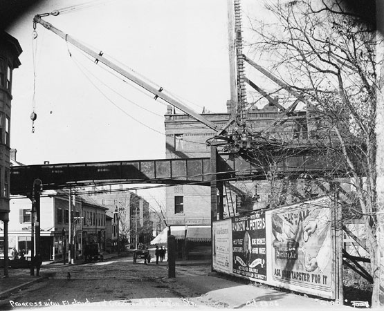 By 1906, the Elevated Railway (the old Orange line) had reached Green and Washington Streets. Photograph courtesy of David Rooney.