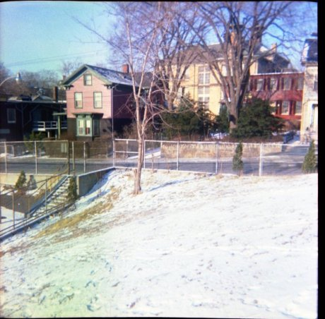 Looking across the Johnson playground towards Lamartine. Photograph courtesy of Brian Frost.