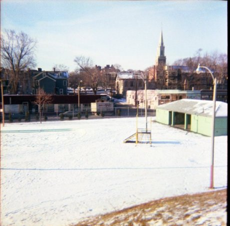 View of the Johnson playground looking towards Washington St. Photograph courtesy of Brian Frost.