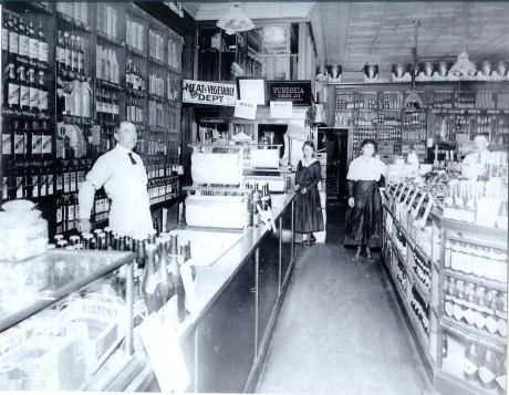 Employees of Patterson's Market on South St. Photograph courtesy of the Patterson family. The two women shown in the middle are Alice and May Patterson. A higher resolution version of this photograph is  available .
