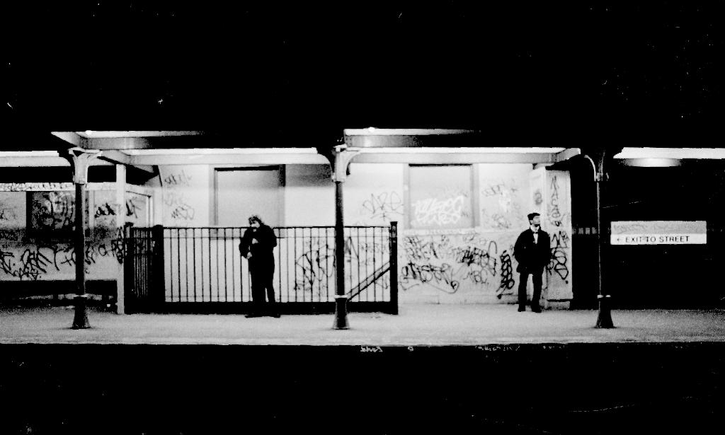"Green Street Station. ""Waiting for the last train"". April, 1987. Photograph courtesy of Chris Lovett, Neighborhood Network News. circa 1987."