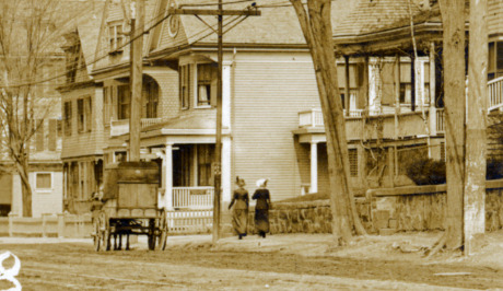 Centre St. near the intersection with Boylston St. circa 1910. Jamaica Plain Historical Society archives.