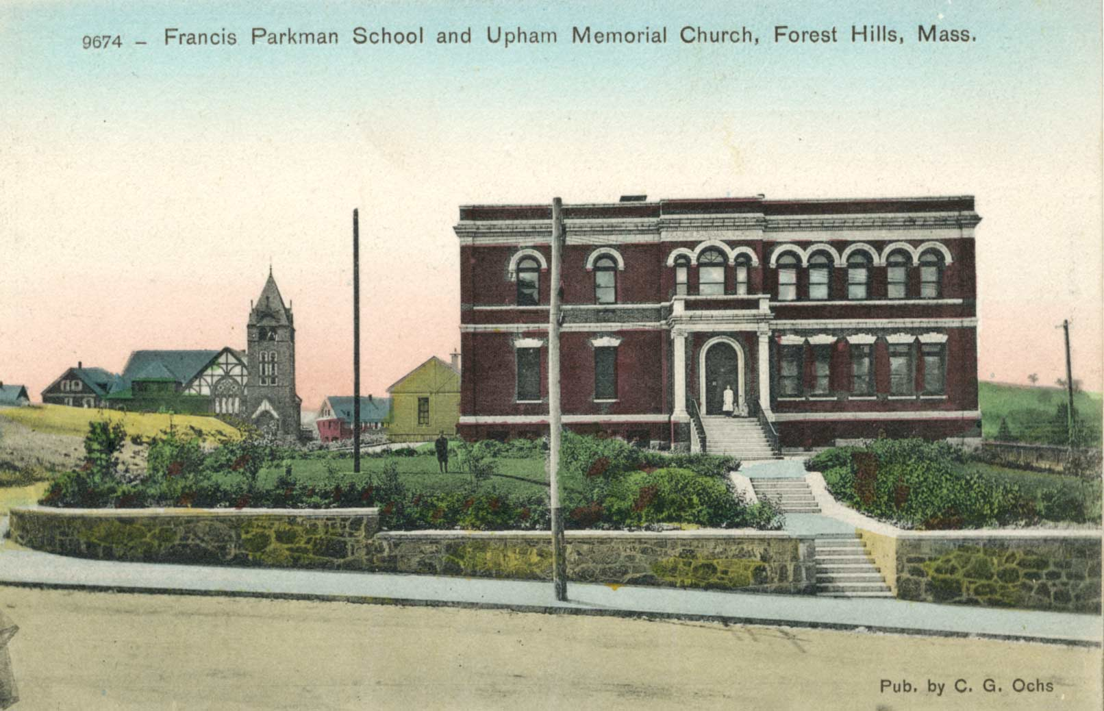 The Parkman School with Upham Memorial Church in the background. Scanned from a postcard donated by Annie Finnegan, November 2007.