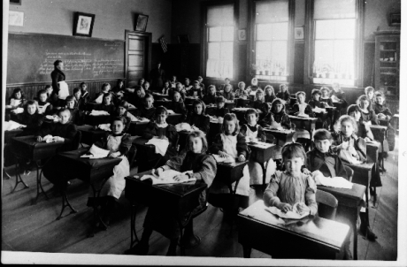 View of children in classroom. School is thought to be in the vicinity of Boylston Station, Jamaica Plain. Photograph courtesy of Emy Thomas. Higher resolution versions of photographs in this set are  available .