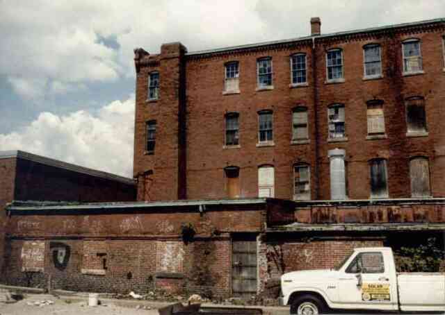 """This early 1980s photograph shows building """"P"""" at the Haffenreffer brewery complex just before renovations on the building began. Courtesy of the Jamaica Plain Neighborhood Development Corporation."""