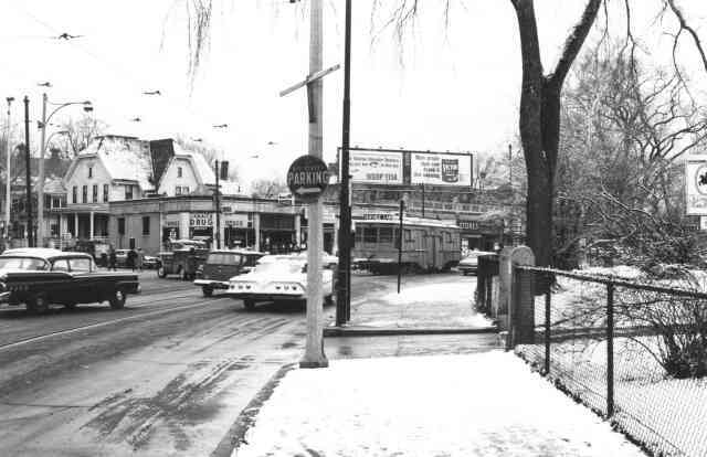 A view of Centre St. looking north towards Eliot St. in 1965. Courtesy of Frank Norton.