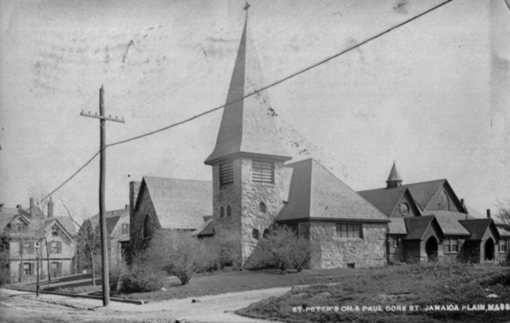 St. Peter's Church, once located on Paul Gore Street. Taken from a photographic postcard in the historical society archive. Photograph taken circa 1908.