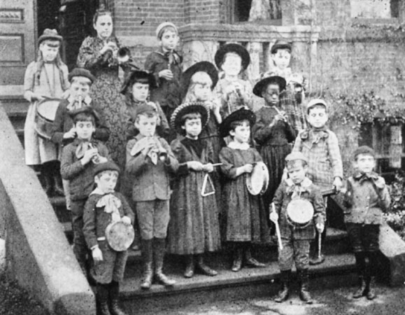 Music students at the Perkins Institution for the Blind. Located at the corner of Pekins and Day Streets in Hyde Square, the school was founded in 1887 and served children through age nine.
