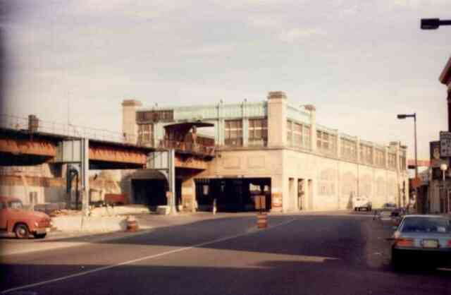 The Forest Hills Orange Line station in the early 1980s shortly before it was torn down to make way for the new Orange Line.
