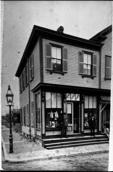 """Exterior of Seyter store located in the vicinity of Boylston Station, Jamaica Plain. Sign in the window reads, """"Dry and Fancy Goods"""". Photograph courtesy of Emy Thomas. Higher resolution versions of photographs in this set are  available ."""