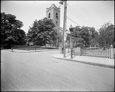 First Congregational Society (Unitarian church), corner of  Centre Street and Eliot Street.   ca. 1930 .  Photograph by Leon H. Abdalian, courtesty Boston Public Library.