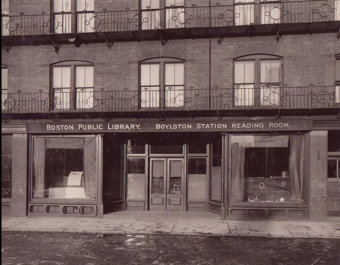 Boston Public Library Boylston Station Reading Room opened in 1905 on the ground floor of the railroad station.The reading room was enhanced in 1927 and became known as the Boylston Branch. In 1935 the current Connolly Branch Library on Centre Steet was opened.