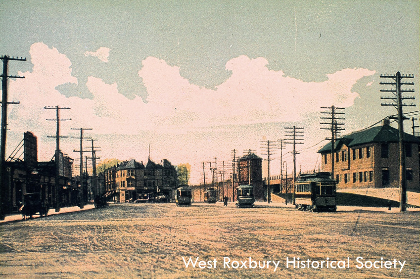 Forest Hills railroad station, ca. 1912 courtesy of West Roxbury Historical Society