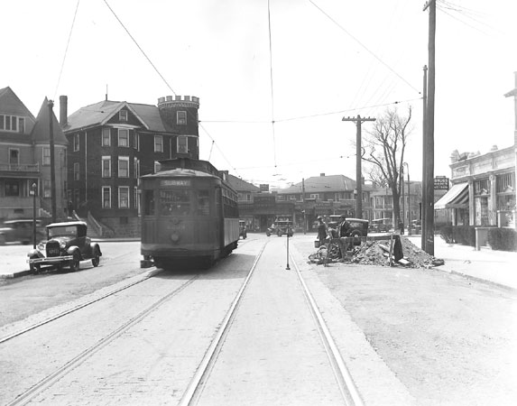 A trolley at Centre and South Huntington Streets.