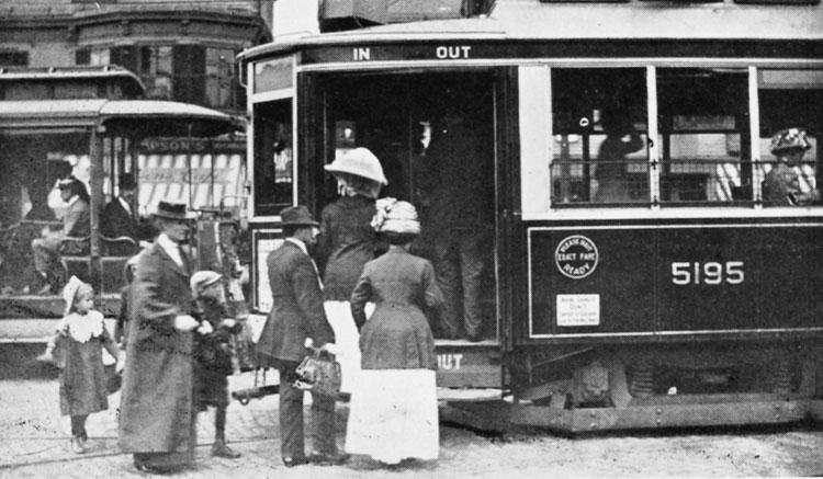Car 5195, an Arborway subway car, loads passengers on Centre Street ca. 1912.