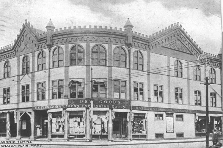 In this photograph taken at Seaverns and Centre, the Masonic Temple occupies the second floor.