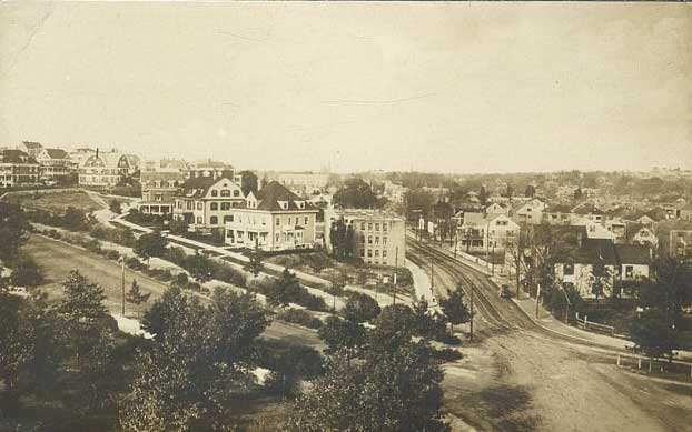 This view at Forest Hills looks north on South Street while Morton Street crosses from left to right.